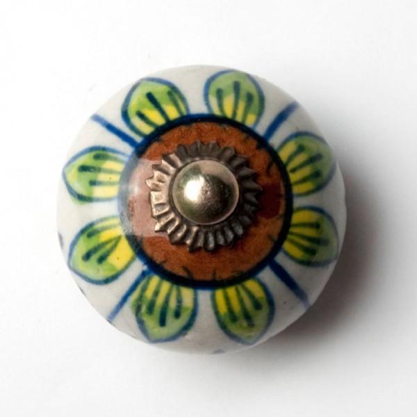Türknauf rund, braun/grün, Ø 3,5 cm