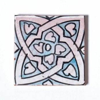"Fliese ""celtique turqouise"", türkis/weiß, L 10 cm, B 10 cm, H 1 cm"