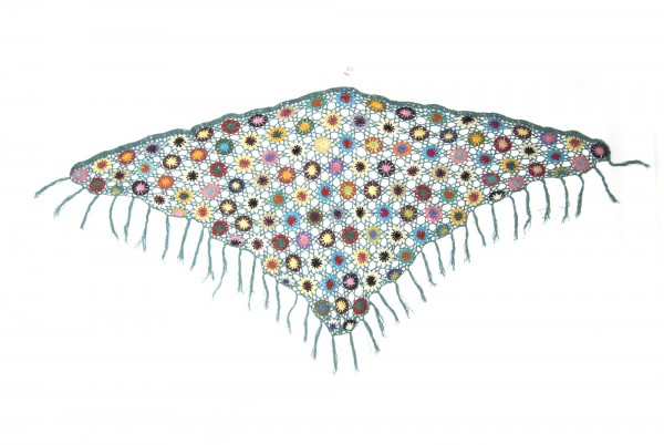 Dreieckiges Häkeltuch, petrol/multicolor, L 165 cm, B 85 cm