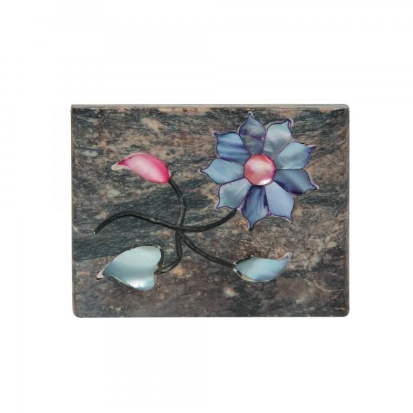 Speckstein-Dose 'Aroras', schwarzbraun, T 8 cm, B 10 cm, H 4 cm