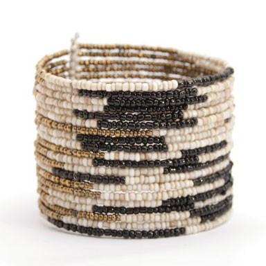 """Armreif """"Perlen"""", gold/weiß/schwarz"""
