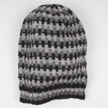 Wollmütze grau/schwarz, handgestrickt in Nepal