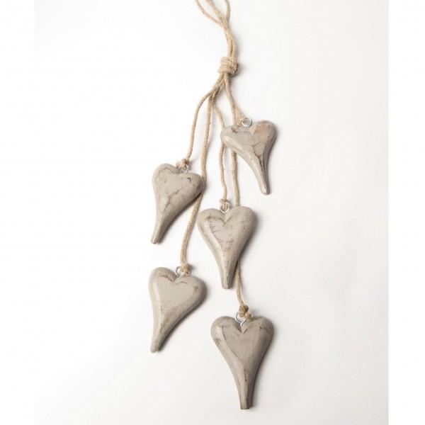 Herzen-Bundle, grau, L 60 cm