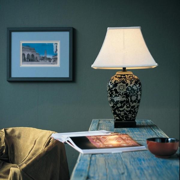 Keramikleuchte 'Guilin', schwarz, Schirm beige, H 65 cm