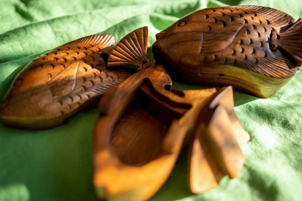 Secret Box 'Fish', braun, T 7,5 cm, B 13,5 cm, H 6,5 cm