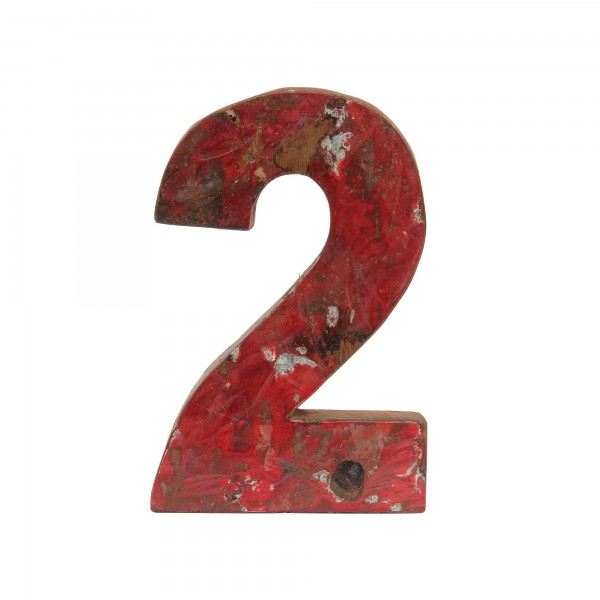 Holzziffer '2', mehrfarbig, T 2,5 cm, B 13 cm, H 19 cm