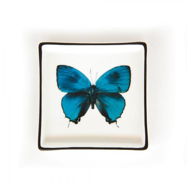 Ablage 'Papillon', weiß, blau, T 11 cm, B 11 cm, H 2 cm