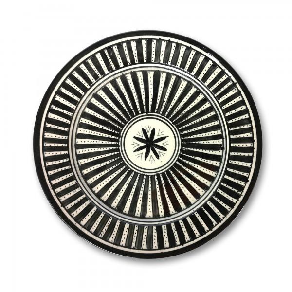 Zierteller, schwarz, weiß, Ø 25 cm, H 3 cm