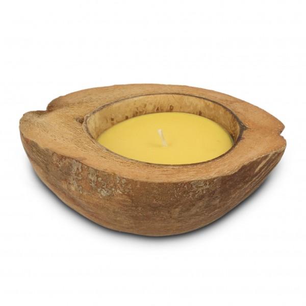 Kokosnussschale mit gelber Kerze, braun, H 5 cm, Ø ca. 20 cm