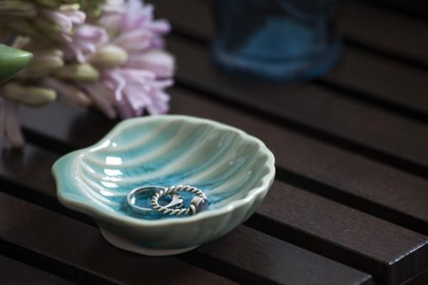 Schale Muschel, blau, T 9 cm, B 9 cm, H 2 cm