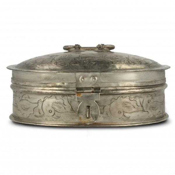 Metallschatulle oval, vernickelt, silber, L 12 cm, B 19 cm, H 8 cm