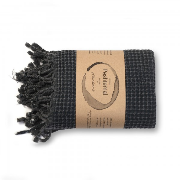 Hamamtuch 'Leme', schwarz, T 175 cm, B 95 cm