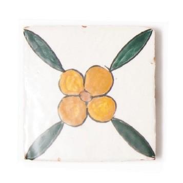 "Fliese ""fleur jaune"", grün/weiß, L 10 cm, B 10 cm, H 1 cm"