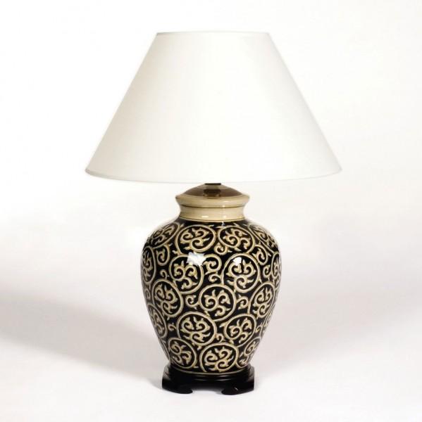 """Keramikleuchte """"Xiamen"""", dunkelblau/beige, Schirm weiß, H 70 cm"""