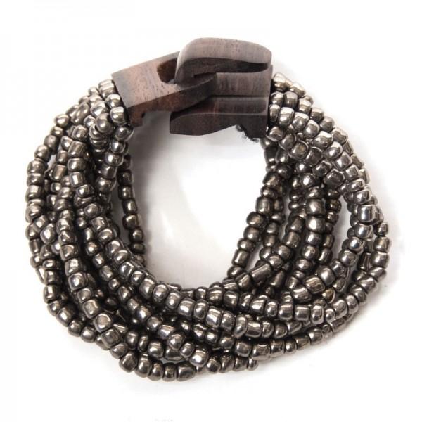 Armband mit Holzverschluss, silber