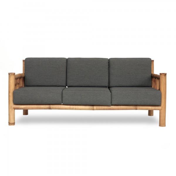 Bambusbank 'Chendra' 3-Sitzer mit grauen Polstern, hellbraun, grau, T 180 cm, B 75 cm, H 75 cm