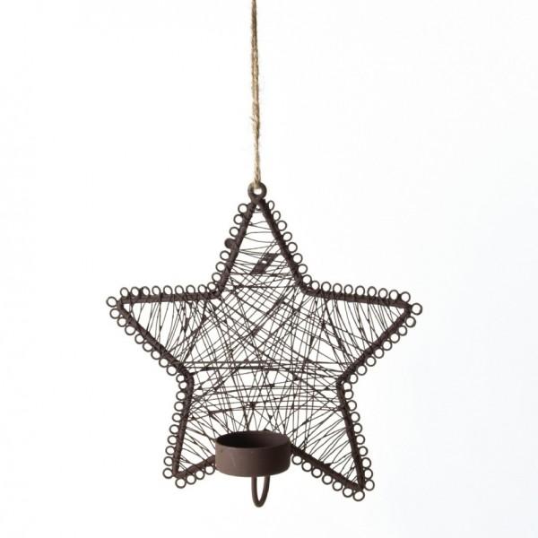 Wandkerzenhalter 'Stern', antik-braun, B 20 cm, H 20 cm