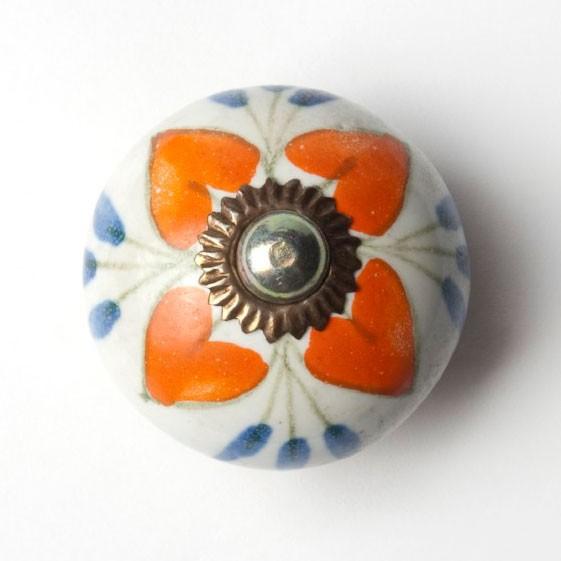 Türknauf rund, orange/weiß, Ø 3,5 cm