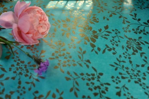 Geschenkpapier 'Blumen mint', handgeschöpft, L 51 cm, B 76 cm
