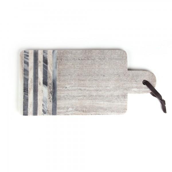 Schneidebrett 'Lain', schwarz, weiß, grau, T 38 cm, B 17 cm, H 1,5 cm