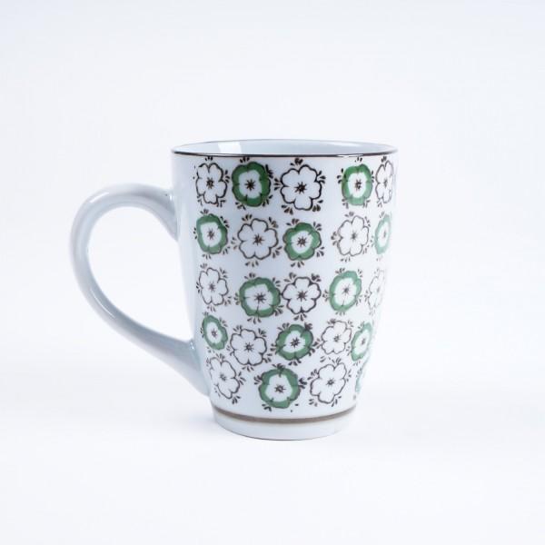 Tasse Gordes 'Grüne Blüte', weiß/grün, H 12 cm, Ø 9,5 cm