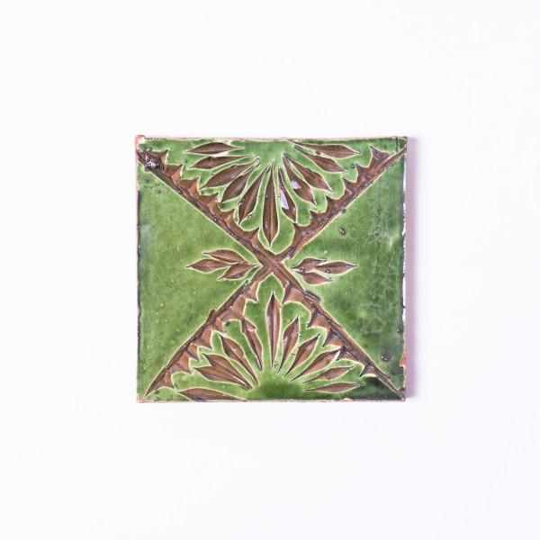 handglasierte Kachel 'Crosée vert', grün, L 10 cm, B 10 cm