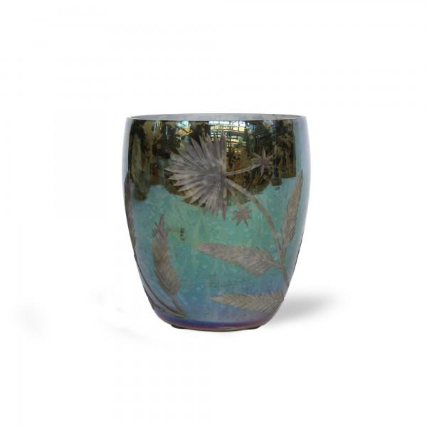 Windlicht 'Iriser', grün, T 11 cm, B 11 cm, H 13 cm