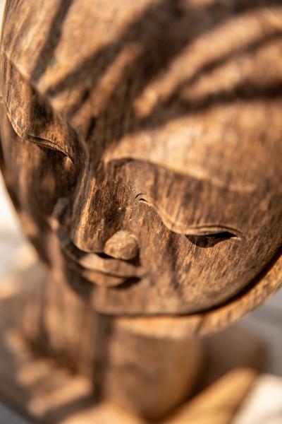 Maske auf Ständer 'Denker' , natur, T 18 cm, B 18 cm, H 38 cm