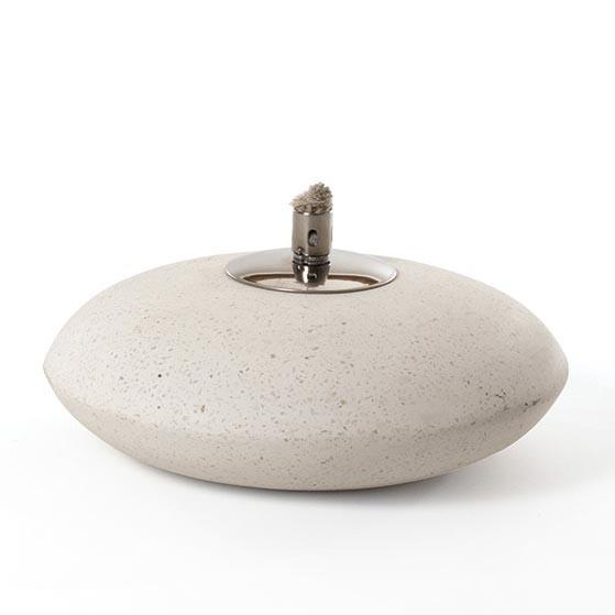 """Terrazzofackel """"Ufo"""" mit Edelstahlaufsatz, weiß, H 11 cm, Ø 25 cm"""