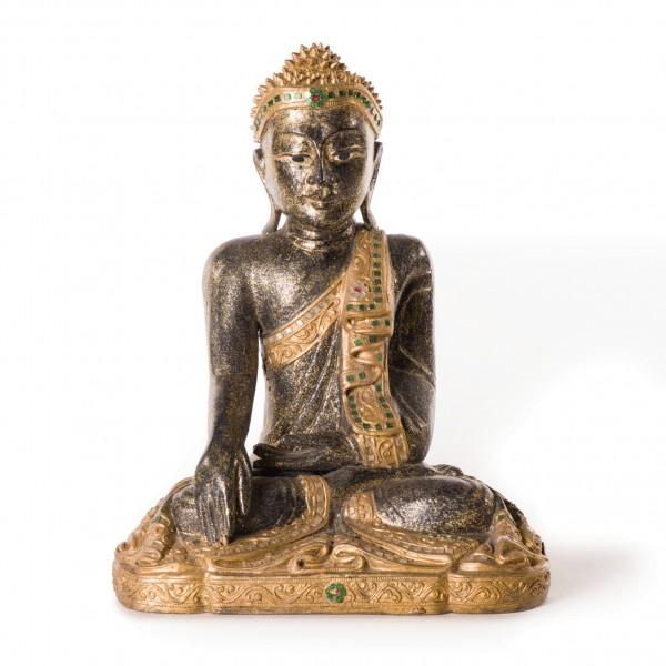 Buddhaskulptur, aus Akazienholz, B 34 cm, H 45 cm