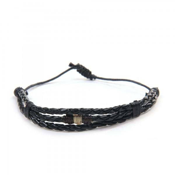 "Armband ""Byron"", aus Leder, schwarz"