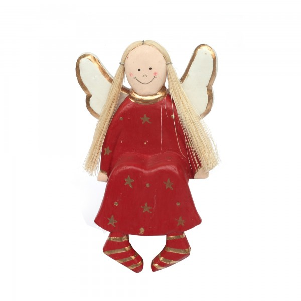 Engel sitzend, rot, T 9 cm, B 5 cm, H 12 cm