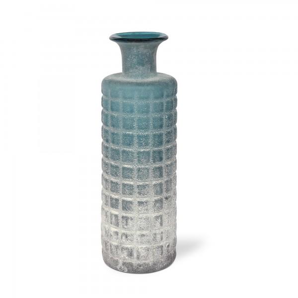 Glasflasche Waffelmuster, frostblau, Ø 9,5 cm, H 30 cm