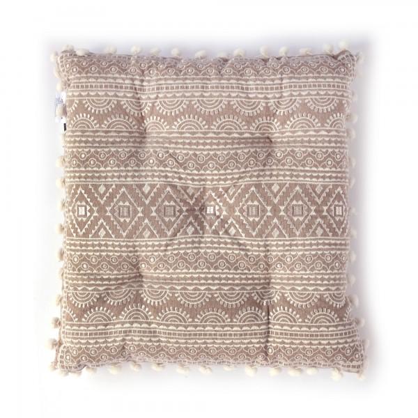Sitzkissen 'Mehndi', braun, beige, T 40 cm, B 40 cm, H 5 cm