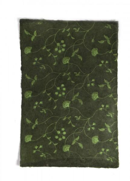 Geschenkpapier 'Blumen' handgeschöpft, grün, L 76 cm, B 50 cm