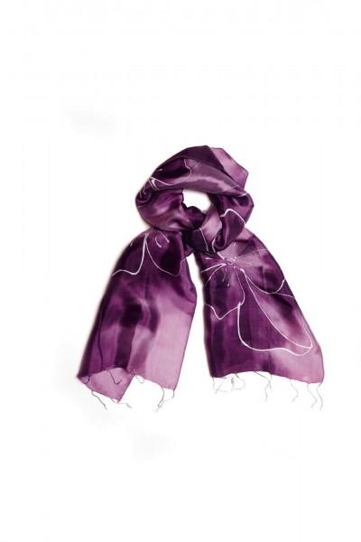 Seidenschal mit Batikdruck, lila, L 175 cm, B 40 cm
