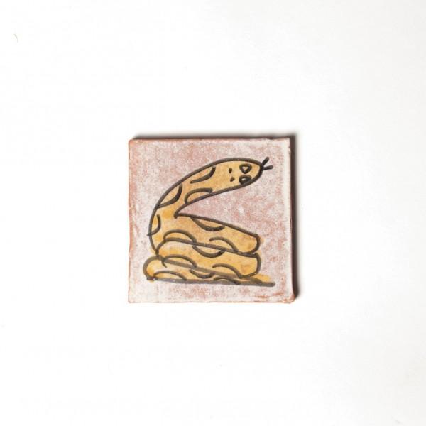"Fliese ""serpant jaune"", rosa/gelb, L 10 cm, B 10 cm, H 1cm"