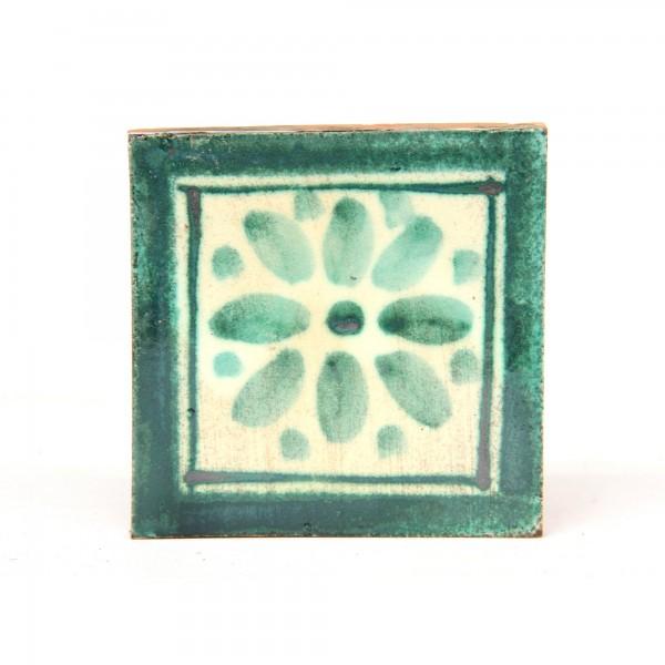 Kachel 'blanc turquoise', grün, weiß, T 10 cm, B 10 cm