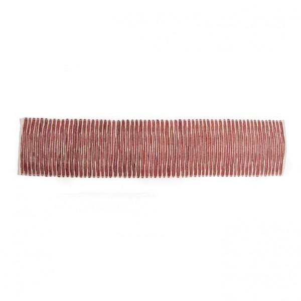 Handgewebter Tischläufer, rot/weiß, L 150 cm, B 35 cm