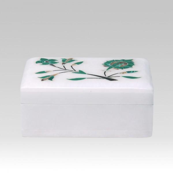 Marmor-Schachtel mit Malachit, weiß, grün, T 8 cm, B 10 cm, H 4 cm