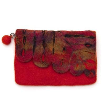 Handgefilzte Geldbörse, orange, B 16 cm, H 13 cm