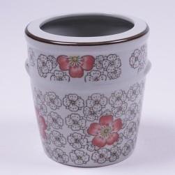 Stiftehalter aus Keramik, handbemalt, rot/weiß, Ø 11 cm, H 12 cm