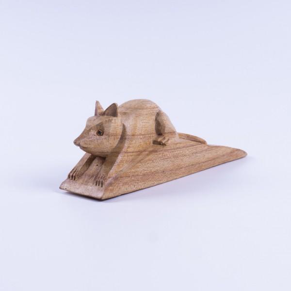 """Türstopper """"Maus"""" aus Albeziaholz, L 17 cm, B 4 cm, H 6 cm"""