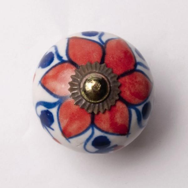 Türknauf rund, rot/blau, Ø 3,5 cm