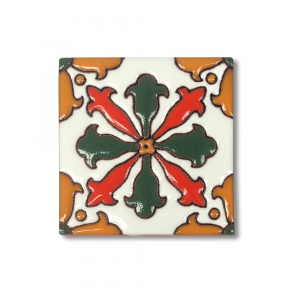 Reliefkachel 'Monclova', grün, rot, T 10 cm, B 10 cm, H 0,5 cm