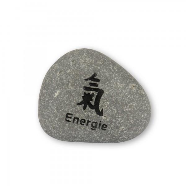 Flusskieselstein 'Energie', grau, T 7 cm, B 8 cm