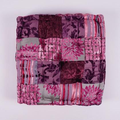 """Sitzkissen """"Patch Floral"""", rosa/lila, L 40 cm, B 40 cm, H 10 cm"""