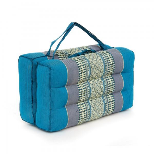 Yogakissen, faltbar, blau, grau, T 40 cm, B 40 cm, H 7,5 cm