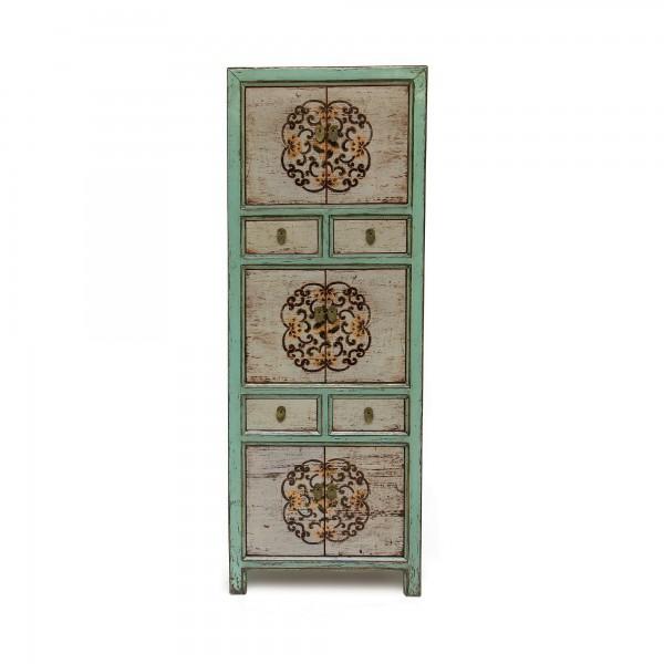 Schrank, 6 Türen, 4 Schubladen, weiß, türkis, T 40 cm, B 65 cm, H 175 cm