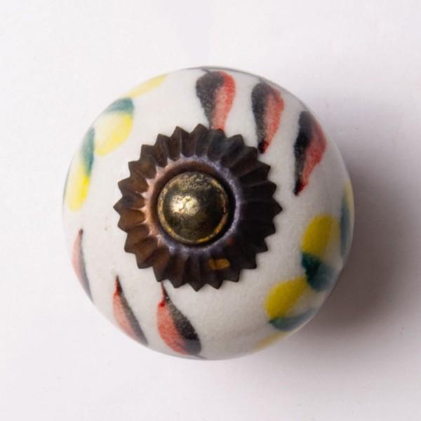 Türknauf rund, weiß/gelb/rot, Ø 3,5 cm
